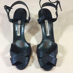 Manolo Blahnik Snakeskin Strappy Sandals 9.5